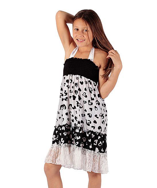 Black & White Heart Ruffle Dress - Girls