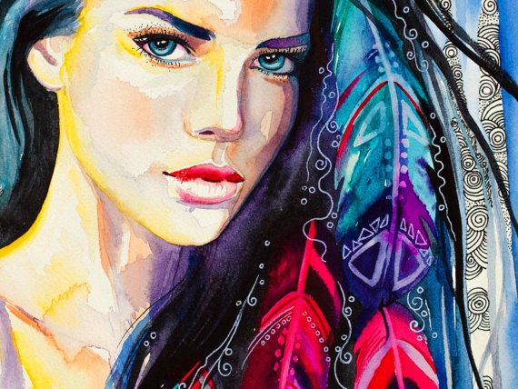 Colorful Feathers watercolor painting print Fashion by SlaviART