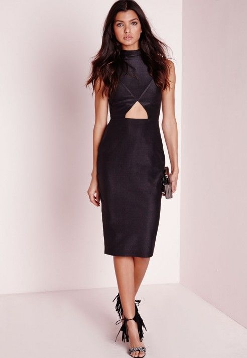 Sleeveless Cut Out Midi Dress Black - Dresses - Little Black Dresses - Midi Dresses - Missguided
