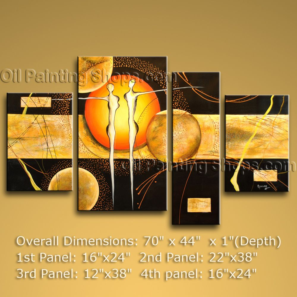 Hand-painted 4 Pieces Modern Abstract Painting Wall Art Contemporary ...
