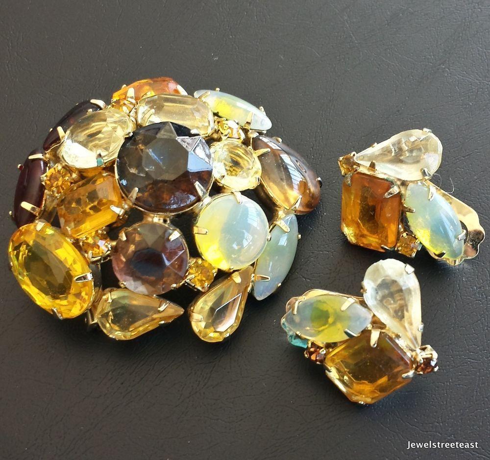 JULIANA Vintage Set Brooch Pin Earring Flower Topaz Rhinestone Cluster Demi! 302