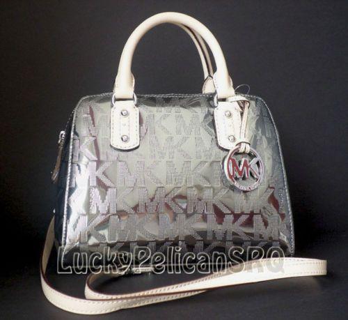 Michael Kors Mk Nickel Mirror Metallic Small Satchel Handbag Bag Nwt
