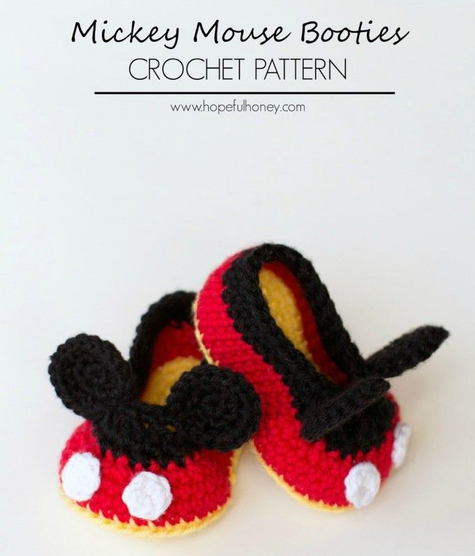 Mickey Mouse Crochet Baby Booties Pattern | Grandparent cuteness ...