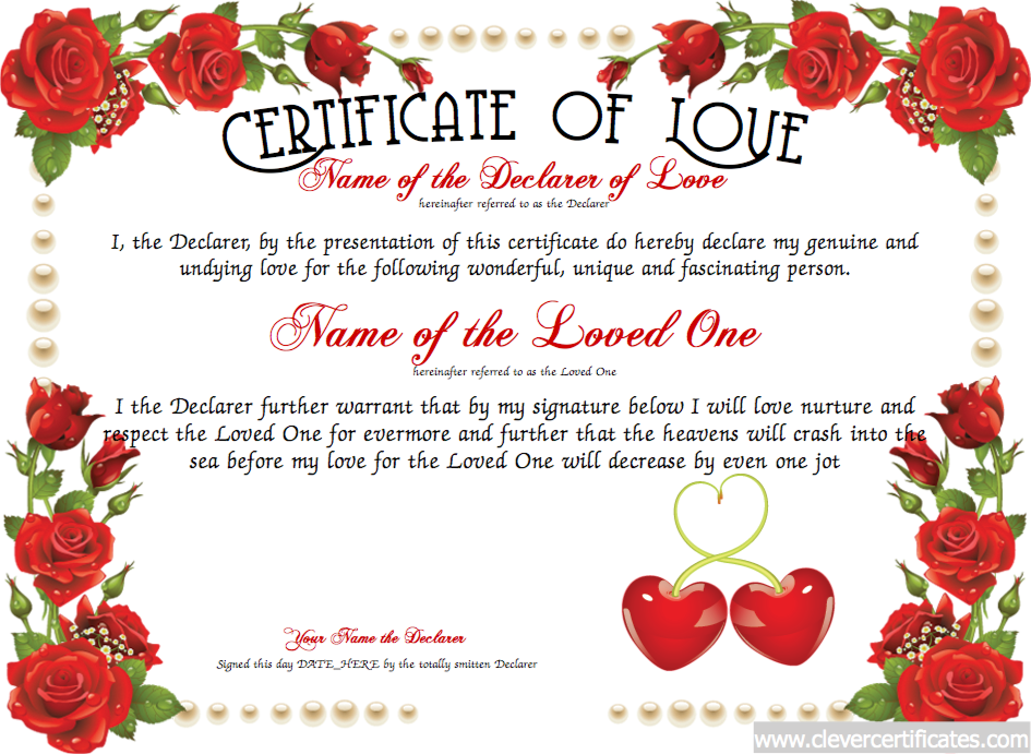 Love Certificate Free Certificate Templates You Can Add Text