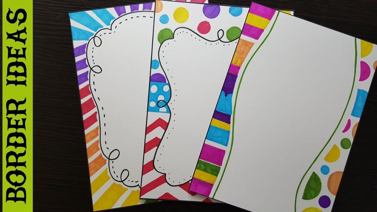 Color border designs on paper page school projects also best design images in rh pinterest