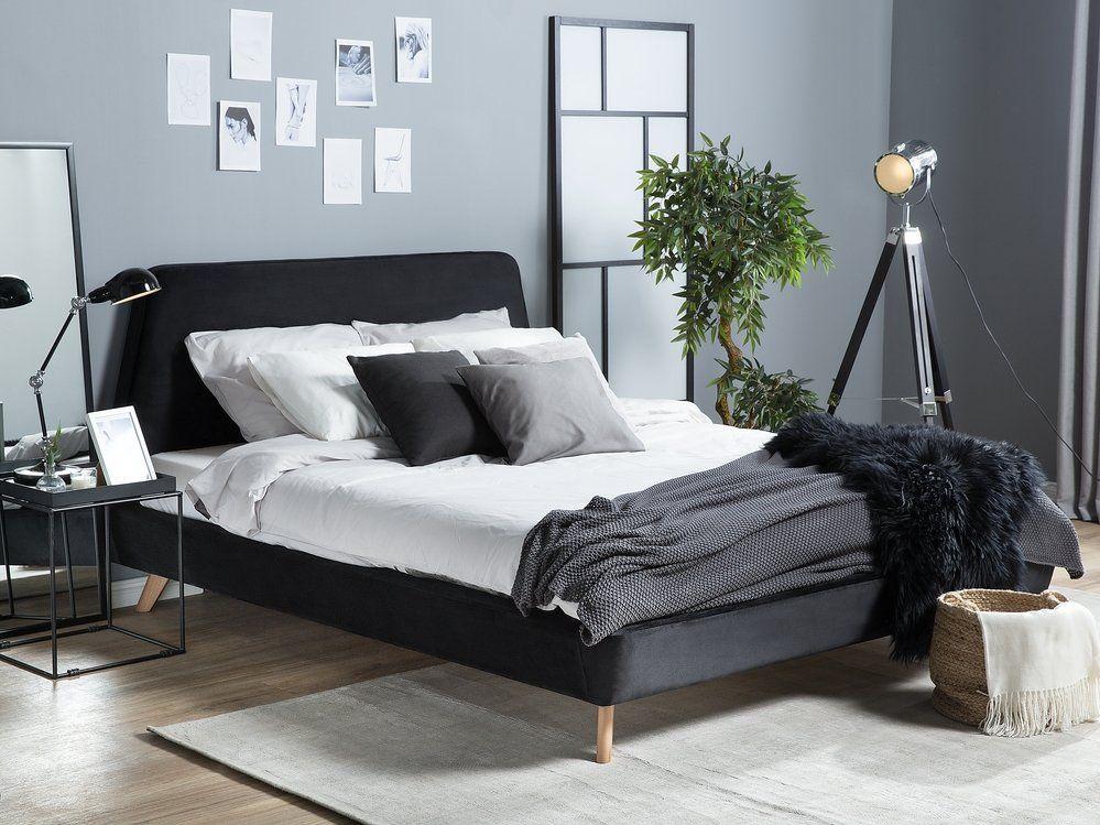 Lit 180 X 200 Cm En Velours Noir Vienne In 2020 Black Bedding Velvet King Size Bed Upholstered Bed Frame
