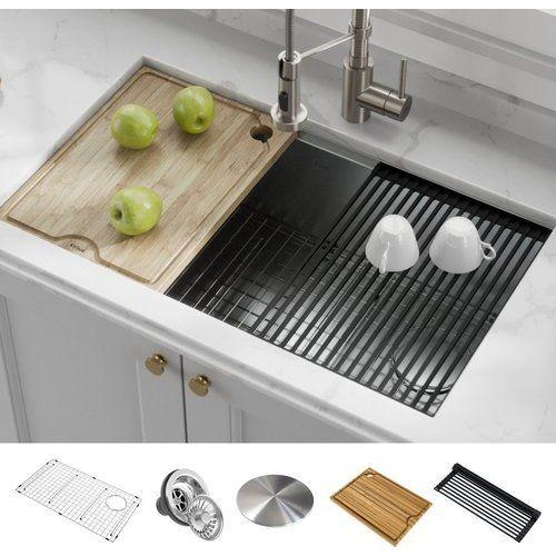 Kraus Kore Workstation 32 Inch Undermount 16 Gauge Single Bowl Kitchen Sink With Accessories Stainless Steel Kwu110 32 In 2020 Stainless Steel Kitchen Sink Undermount Single Bowl Kitchen Sink Undermount Kitchen Sinks