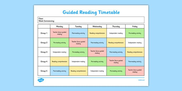 New  Guided Reading Timetable  All About English