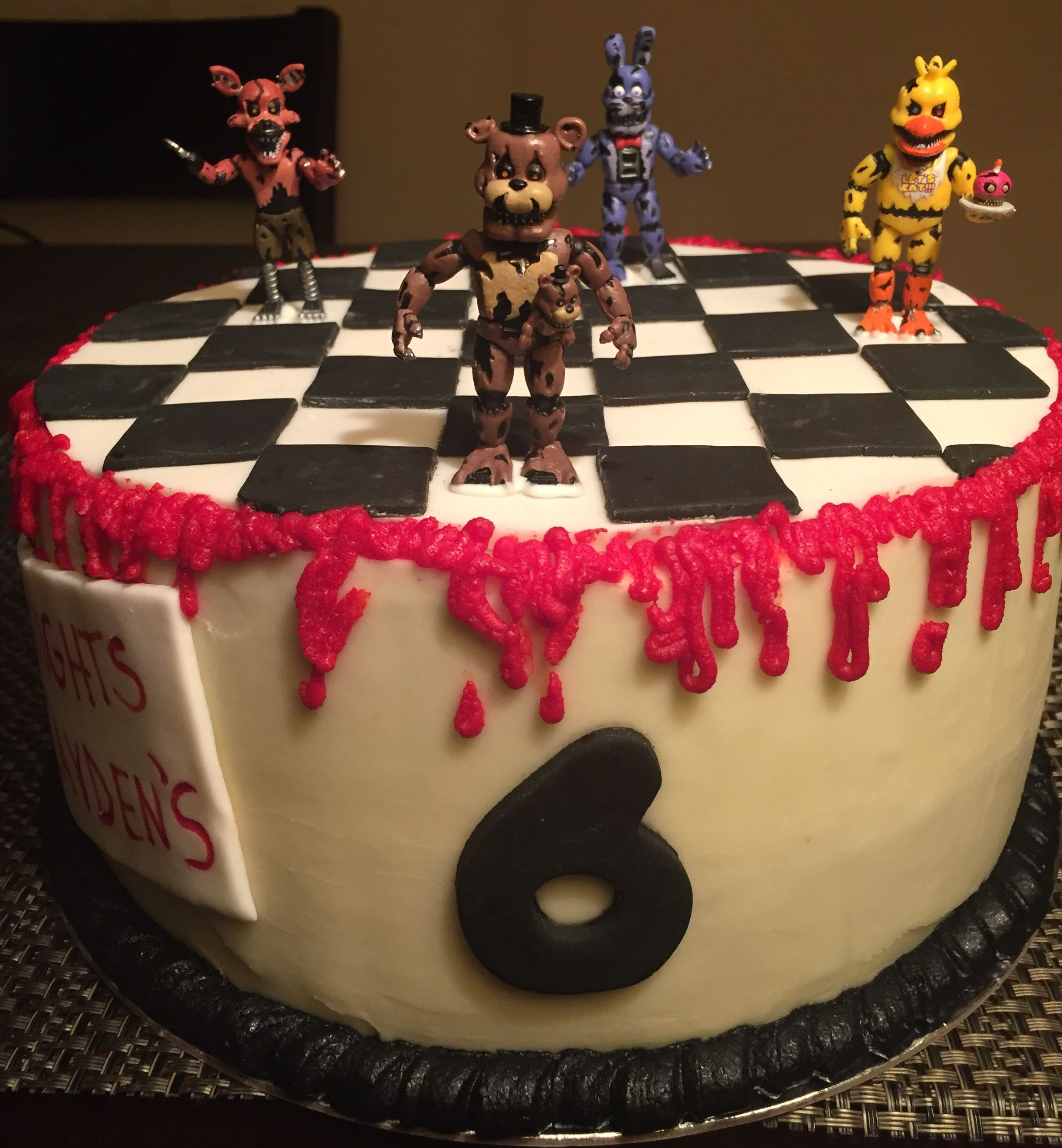 Five nights at freddys theme bday cake vanilla cake w
