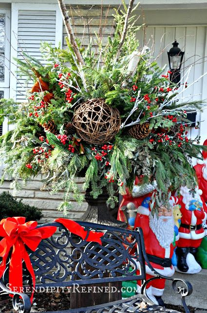 Serendipity Refined: Christmas Front Porch and Urn Planter and The First Snowfall at the French Farmhouse