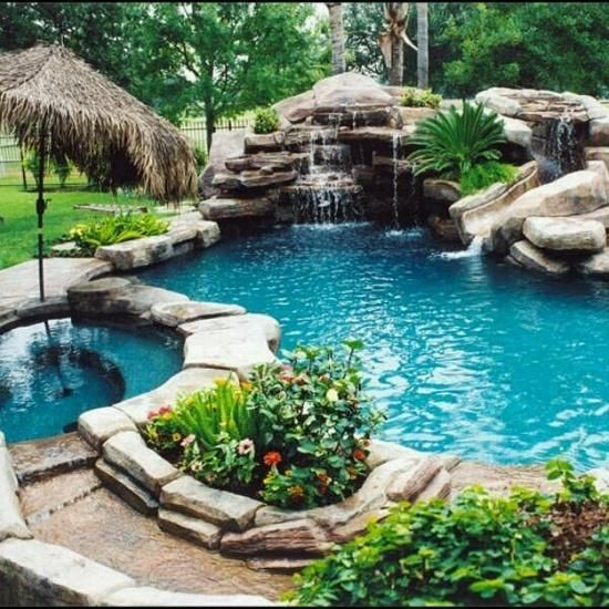 inground pools with waterfalls and hot tubs. Gorgeous Rock Pool With Waterfall, Hot Tub, And Slide Inground Pools Waterfalls Tubs Pinterest