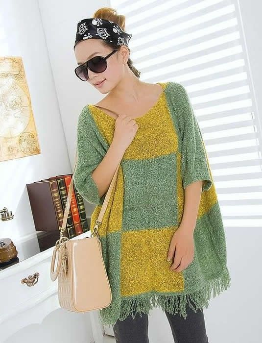 Euro Style Women Loose Half Sleeve Green Knitting Sweater One Size @YIF10863gr