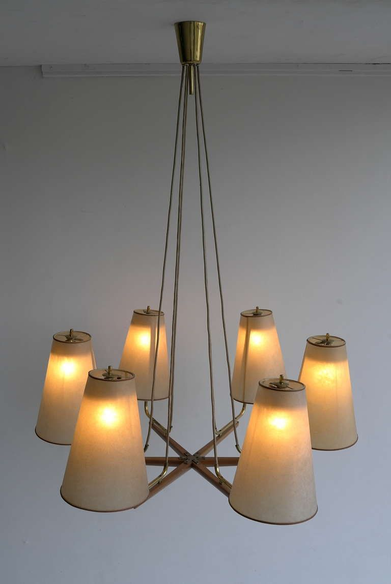 J.T. Kalmar Brass And Leather Chandelier | From a unique collection of antique and modern chandeliers and pendants  at http://www.1stdibs.com/furniture/lighting/chandeliers-pendant-lights/