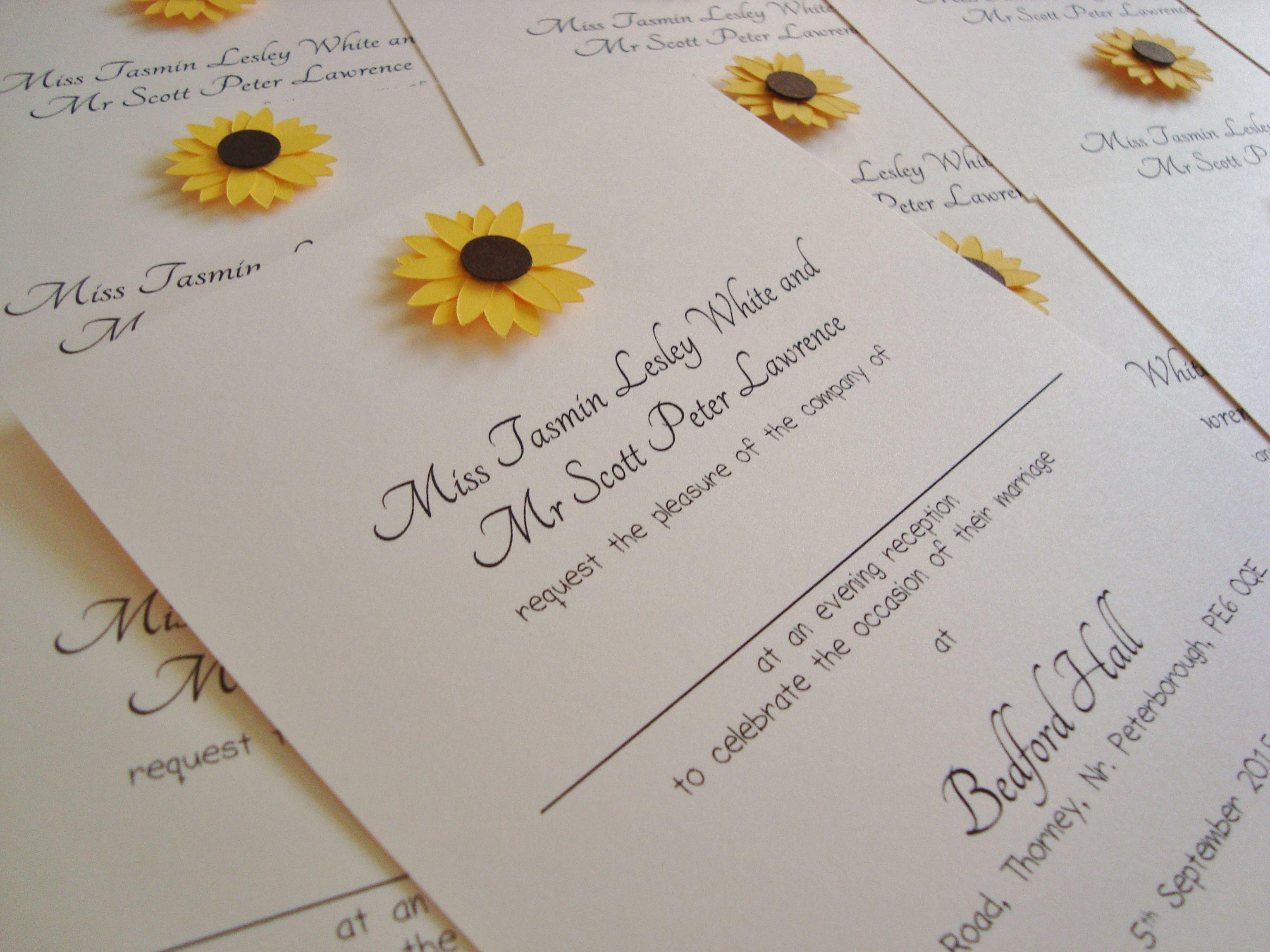 Sunflower Wedding Invitations www.ohsopurrfect.co.uk