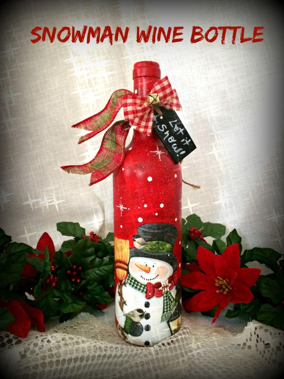 Snowman Wine Bottle Decor Christmas Holiday Gift Painted Etsy Bottles Decoration Christmas Wine Bottles Snowman Wine Bottle