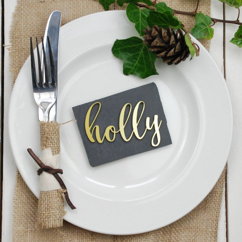 Gold Metallic Wedding Place Settings Name Tags Table Decor Cards Favours