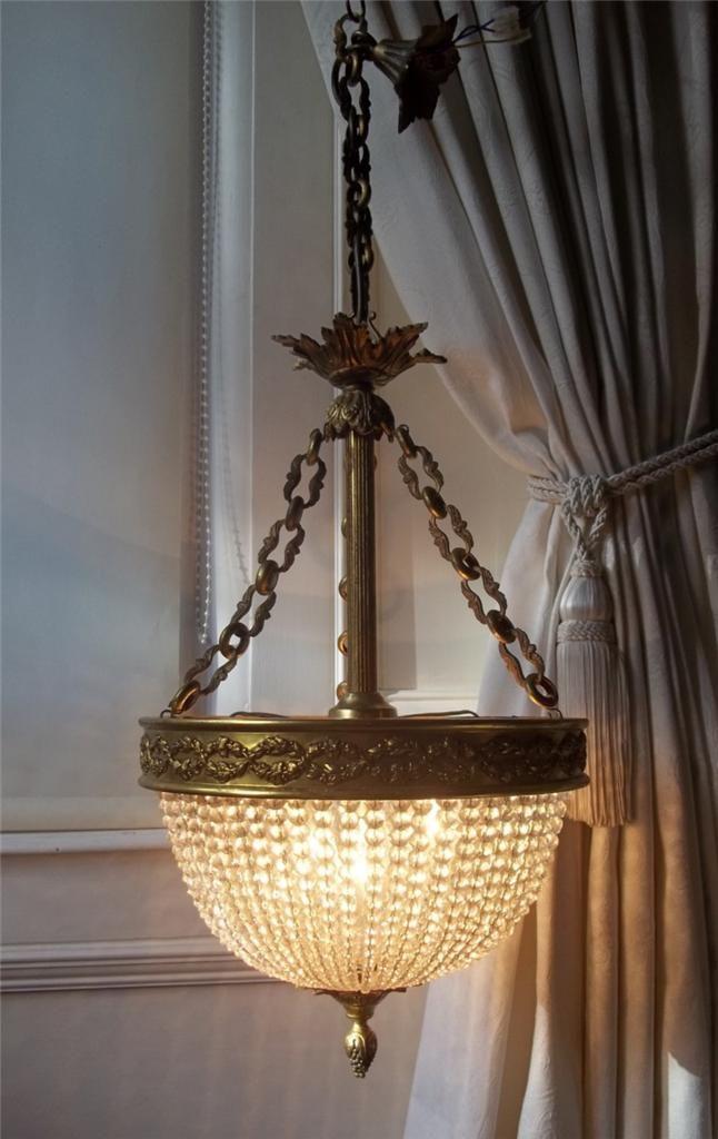 Vintage French Bronze Beaded Crystal Basket Chandelier