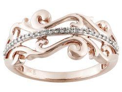 18ctw Round White Diamond 10k Rose Gold Filigree Ring With Images Jewelry Jtv Jewelry Filigree Ring Gold