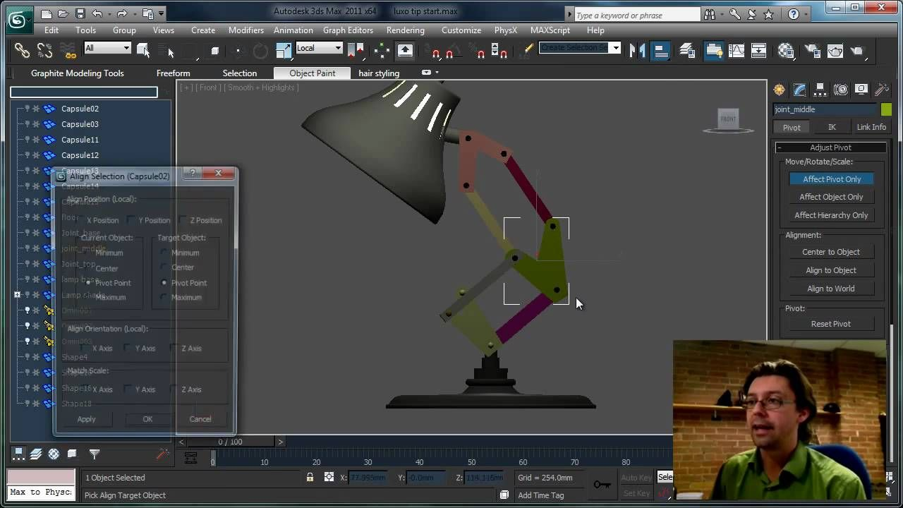 How To Rig The Luxo Jr Lamp In 3ds Max By Shawn Hendriks 3ds Max Tutorials 3ds Max 3d Tutorial