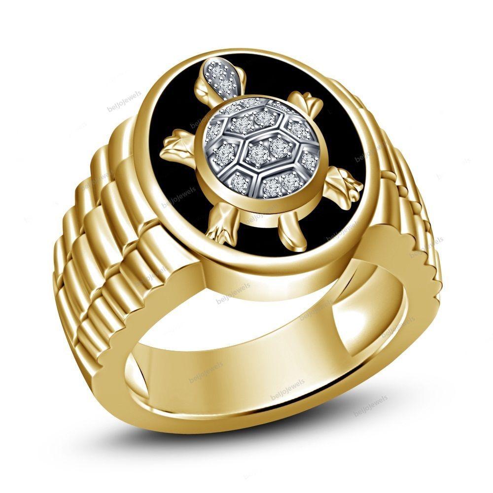Tortoise Design Men's Band Ring 14K Gold Finish 925 Silver
