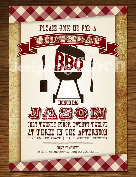 bbq birthday invitation customizable printable by designingfinch