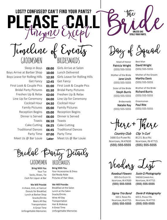 Wedding Schedule Template Purple Timeline Of Events Phone Numbers Bridesmaids And Groomsmen Sc