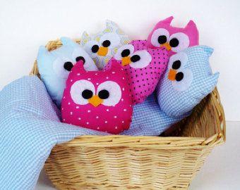 2 bebé color rosa y azul mini buhos usted puede elegir