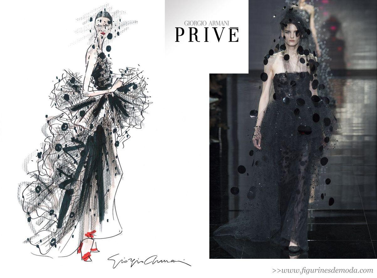 El Figurin De Moda Original Y El Resultado En La Pasarela De Giorgio Armani Prive The Previous Fashion Sketch And The Final Result At The Fashion Show Figur