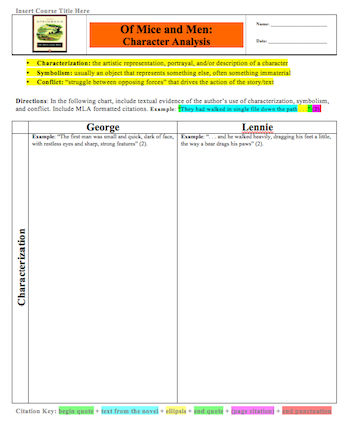 Of Mice And Men Free This Character Analysis Organizer Supports