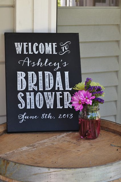 Custom Bridal Shower Sign Chalkboard Painted Screen Printed Canvas Board Via Etsy