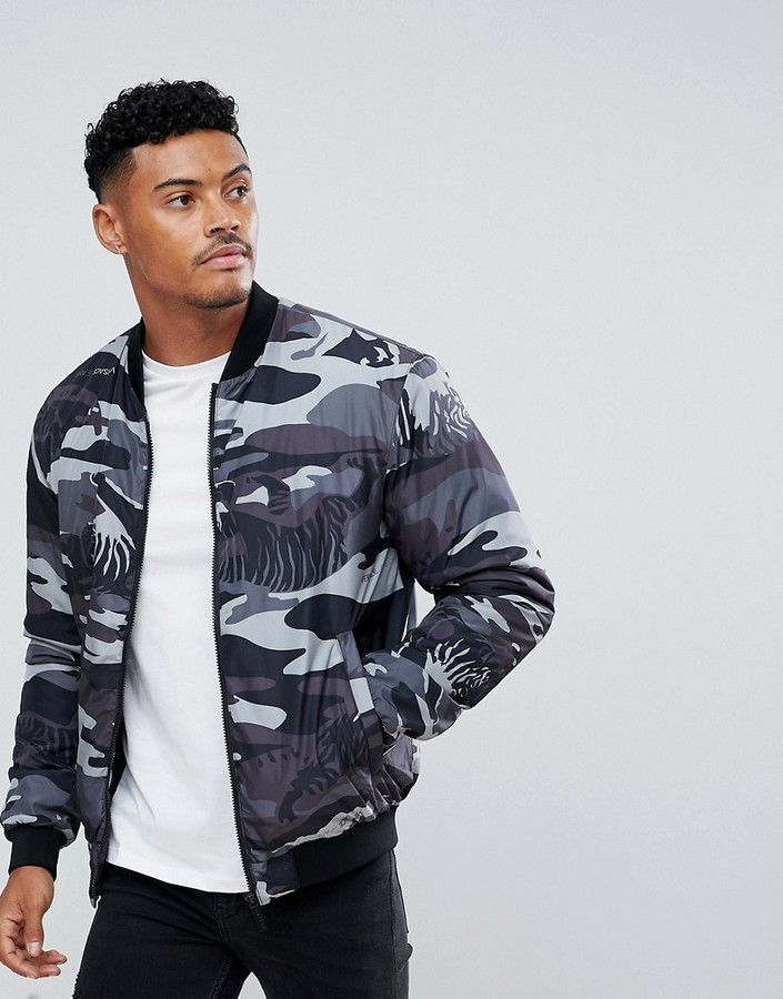 3c3d8bad4e57b Versace Bomber Jacket In Gray Tiger Camo | Products | Versace jeans ...