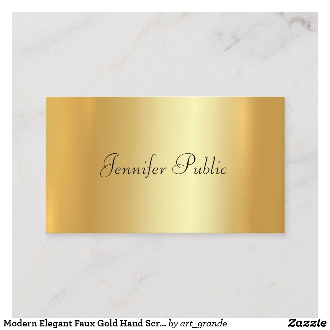 Modern Elegant Faux Gold Hand Script Template Business Card