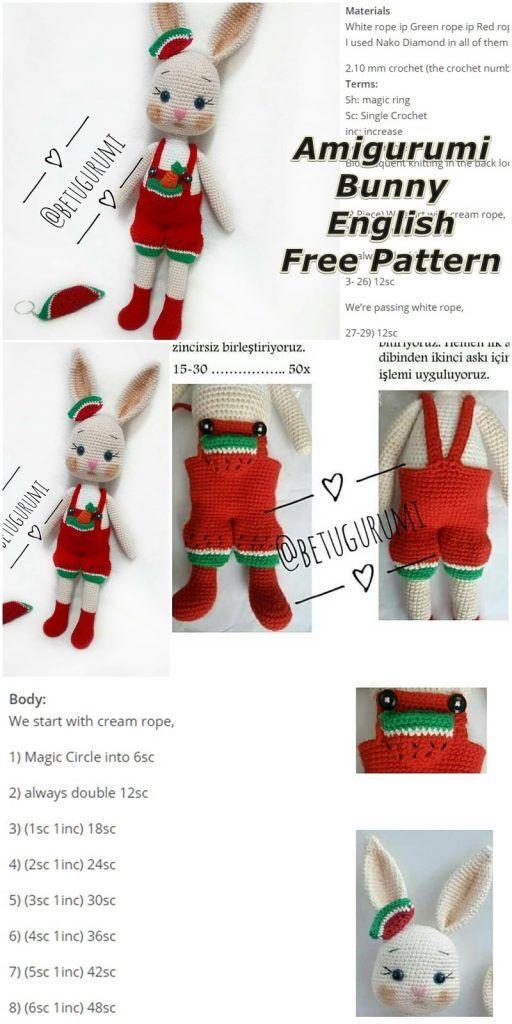 Amigurumi Watermelon Overalls Bunny Free Crochet Pattern – Amigurumi #crochetdinosaurpatterns