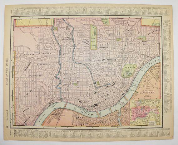 Us Map Cincinnati.1901 Vintage Map Of Cincinnati Ohio State Map Us Travel Map
