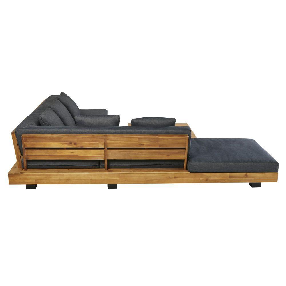 Solid Acacia And Anthracite Grey Canvas 4 6 Seater Garden Sofa Maisons Du Monde Us In 2020 Diy Furniture Building Wooden Sofa Garden Sofa