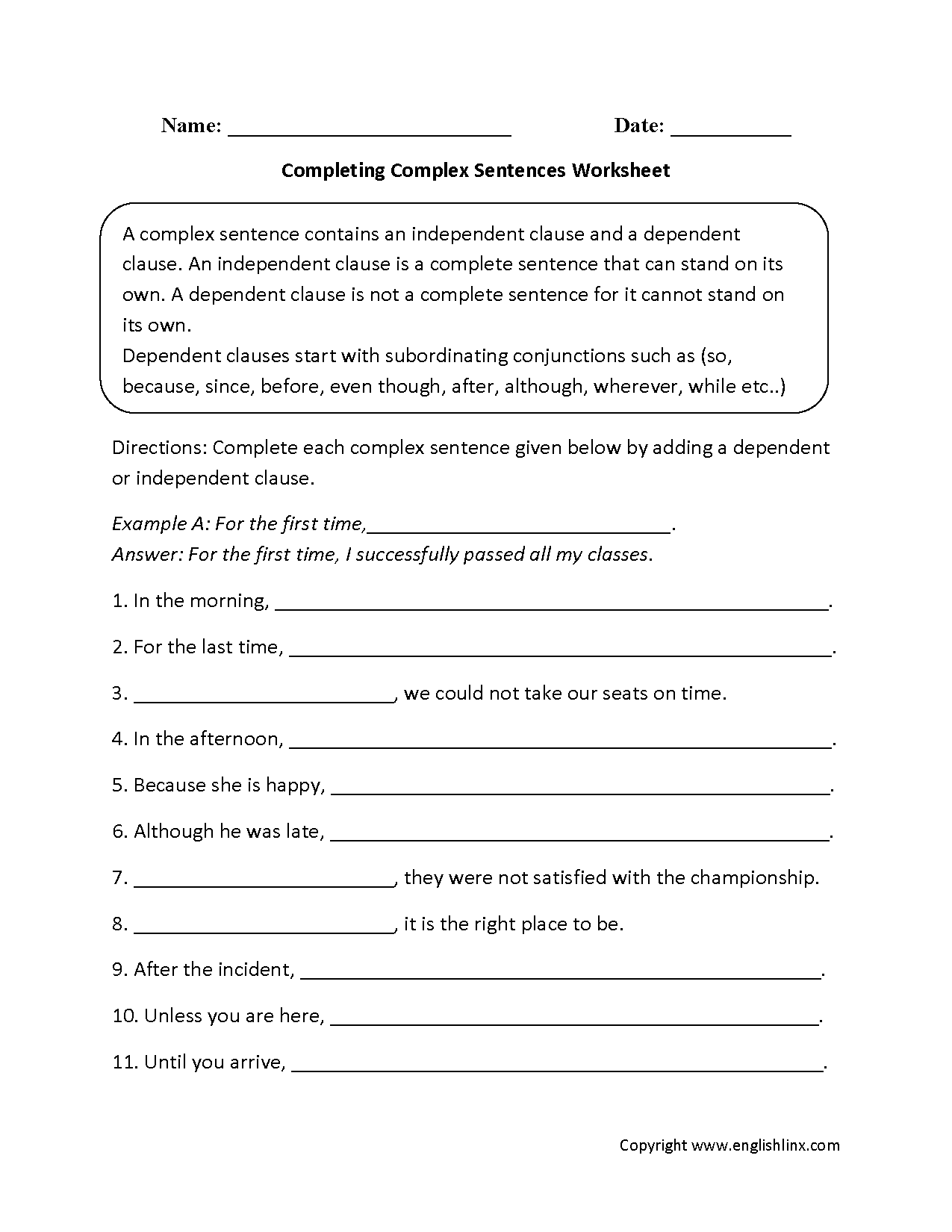 Completing Complex Sentences Worksheets