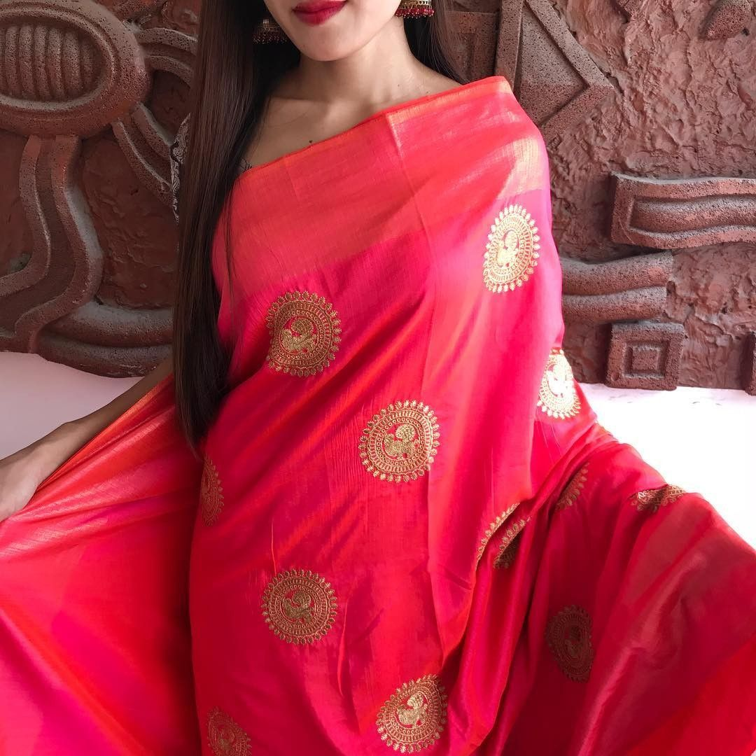 59cbc3e2457e5 Pink sana silk saree with contrast blouse