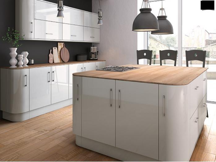 High Gloss Kitchens - Ancona - Ultra Gloss Light Grey ...