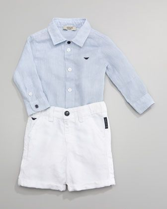 Classic Oxford Shirt & Denim Shorts  by Armani Junior at Neiman Marcus.