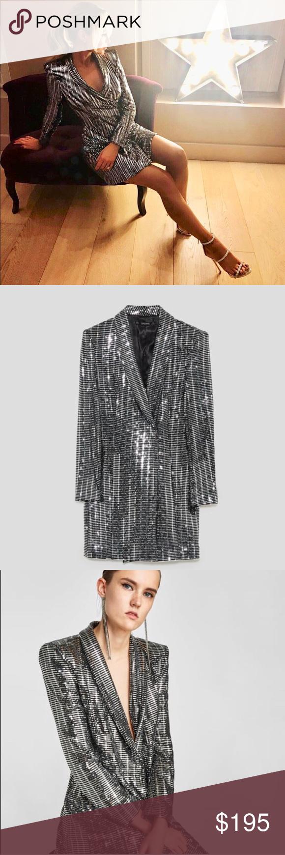 5371de2d Zara sequin silver tuxedo blazer dress - XS Brand new never worn. Size XS.  Sold out everywhere Zara Dresses Mini