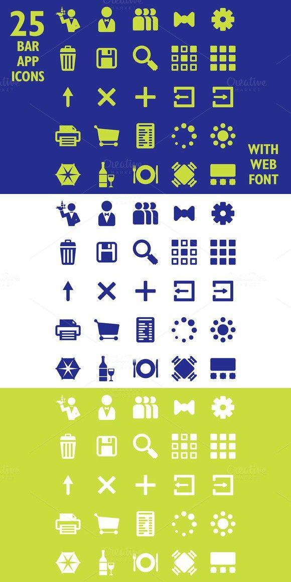 Restaurant App Icon Set Web Font Symbol Fonts 300 Symbol