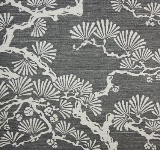 Keros Vinyl Wallpaper A block print inspired vinyl wallpaper featuring a stylised pine tree design in silver on an ebony background.
