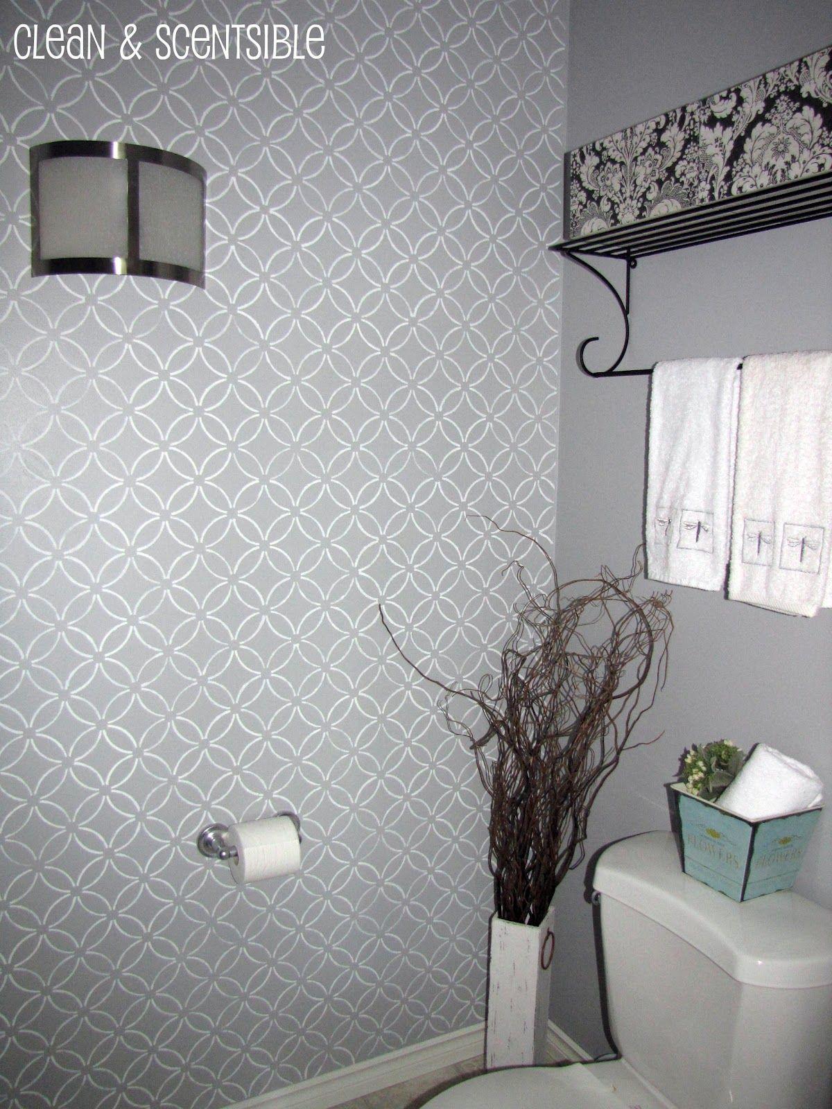 Stenciled Bathroom Wall and the Cutting Edge Stencil ...