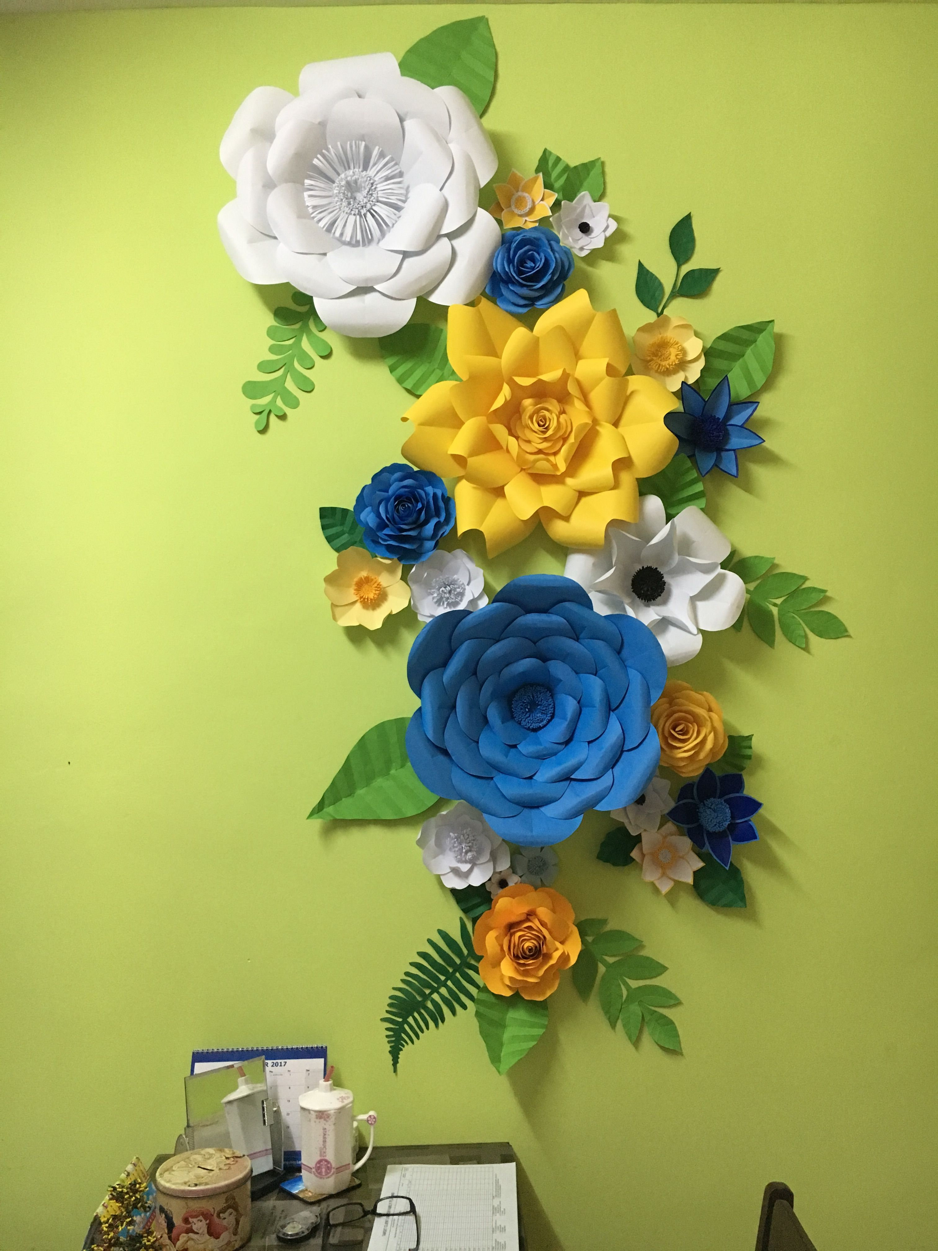 Blue Yellow And White Paper Flower Backdrop By Gelle Diy Gelle