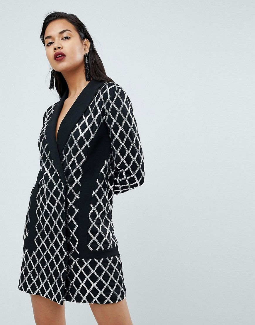 PrettyLittleThing - Elegantes schwarzes Blazerkleid mit Pailletten ...