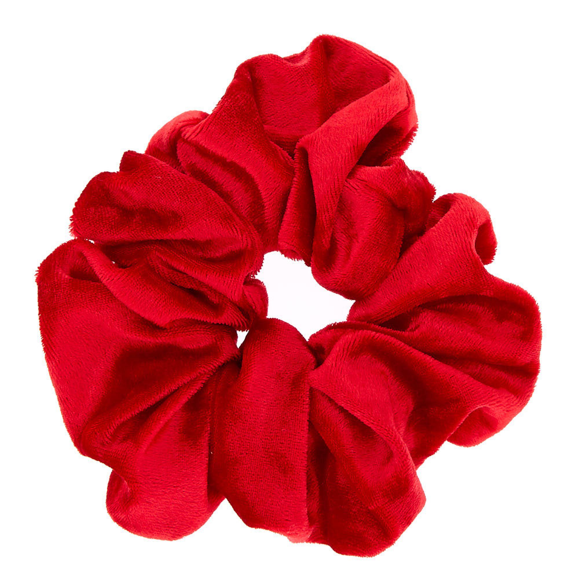 Medium Velvet Hair Scrunchie - Red