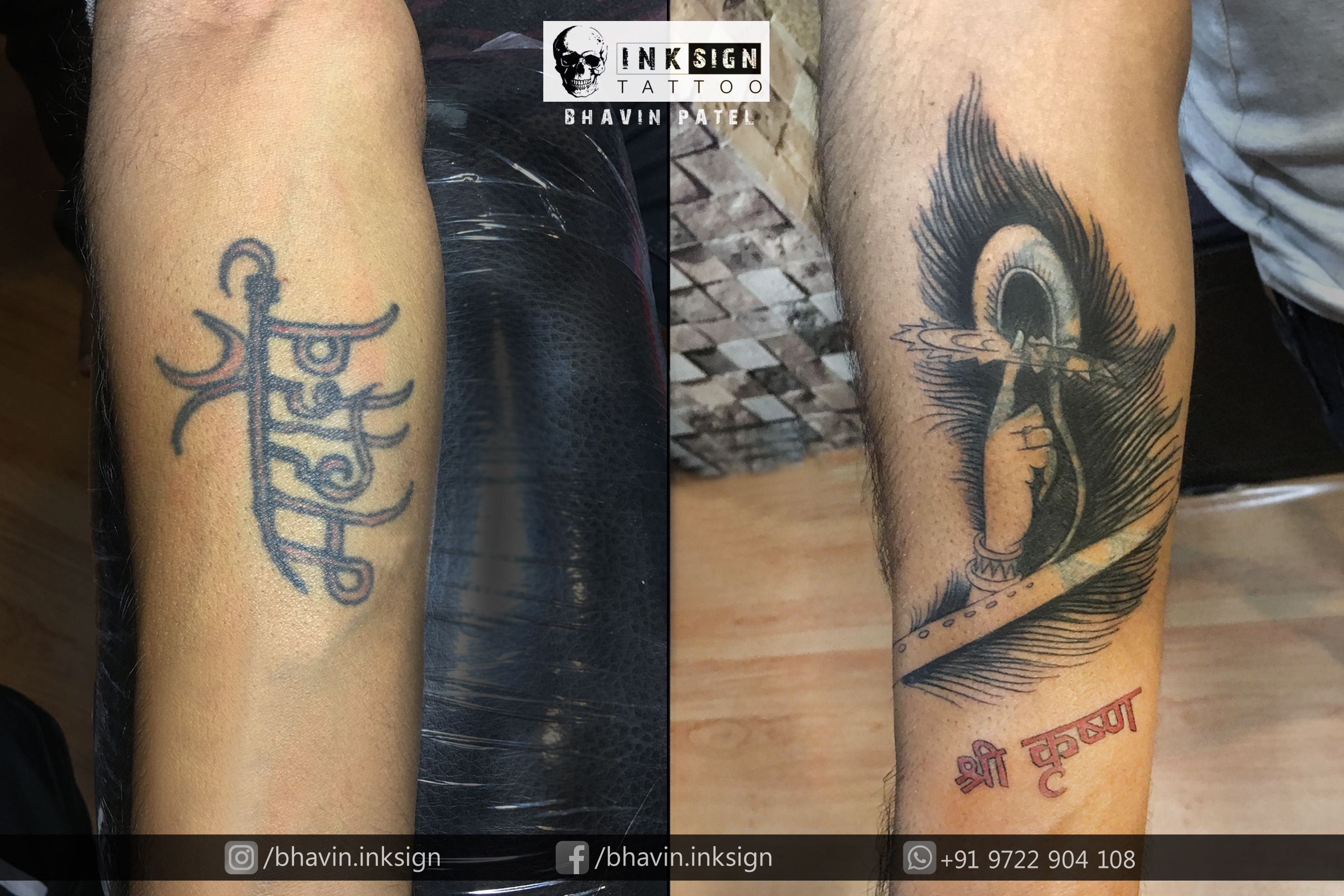 Old Tattoo Cover Up Done By Bhavinpatel Professional Tattoo Artist At Inksign Tattoos India Best Tattoo St Cover Tattoo Cover Up Tattoos Flute Tattoo