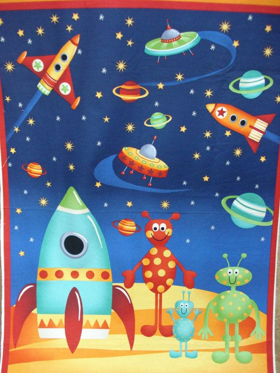Rockets space quilt panels aliens and rockets from space for Outer space fabric panel