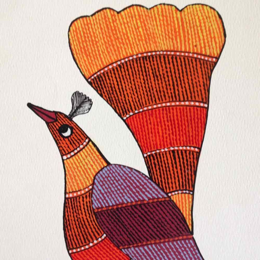 Proud Bird Gond Painting
