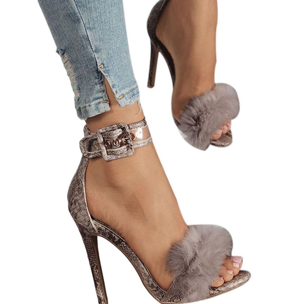 d0387ee4d68d Women Sandals heels 2017 fashion Summer pumps Sexy Sandals summer high heels  straps comfort quality rabbit Fur women. Yesterday s price  US  65.99  (54.09 ...